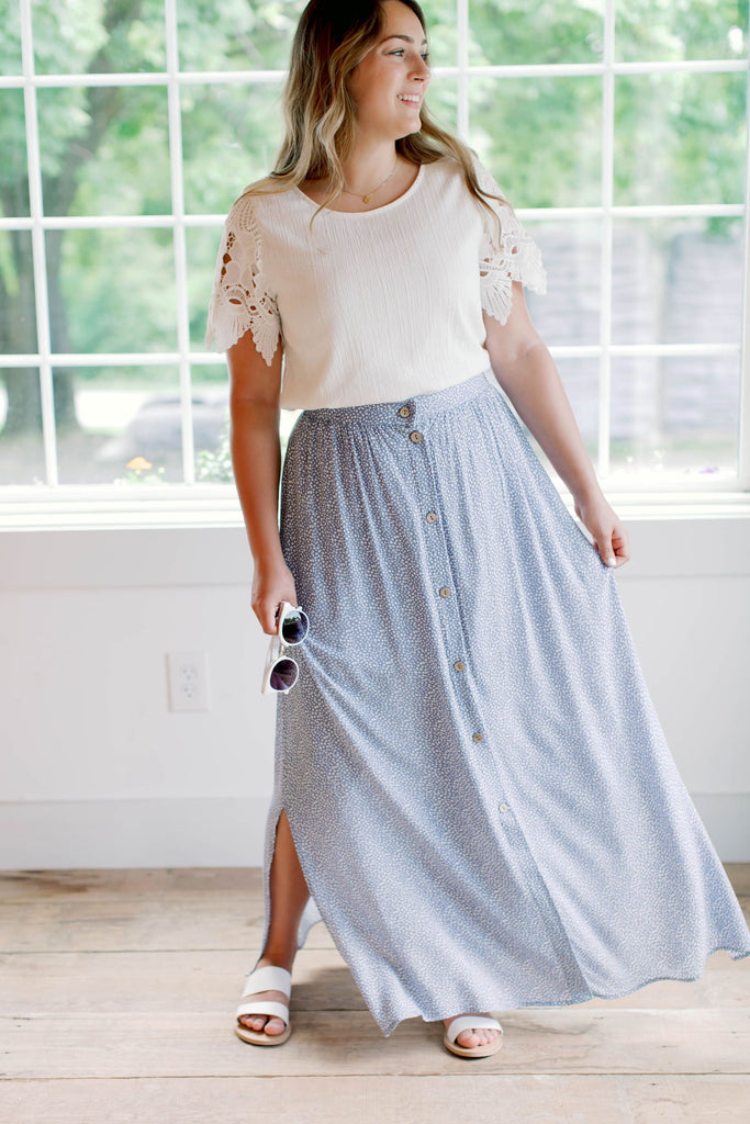 'Ella' Maxi Skirt in Cornflower Blue