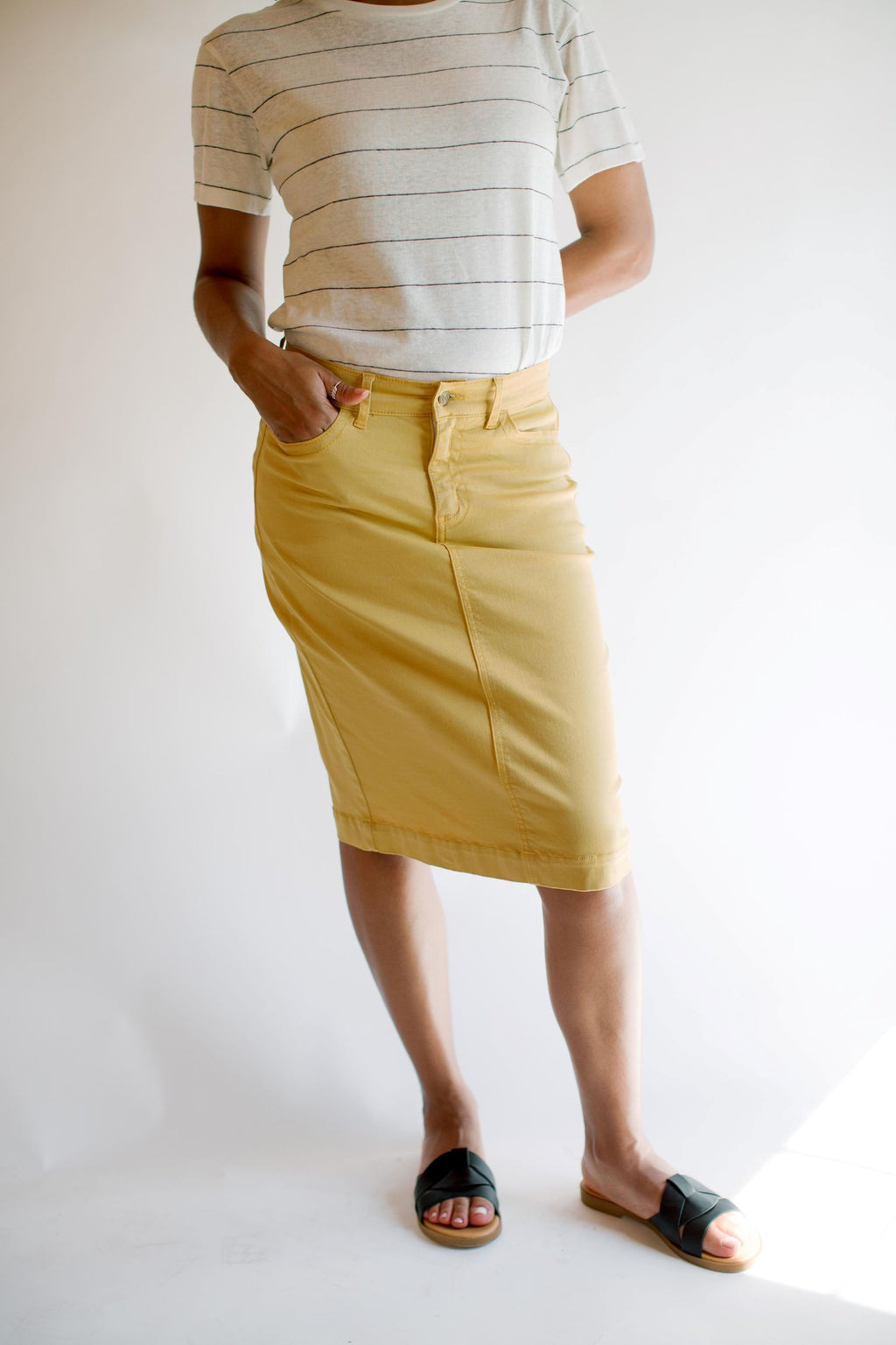 'Leah' Denim Skirt in Vintage Gold