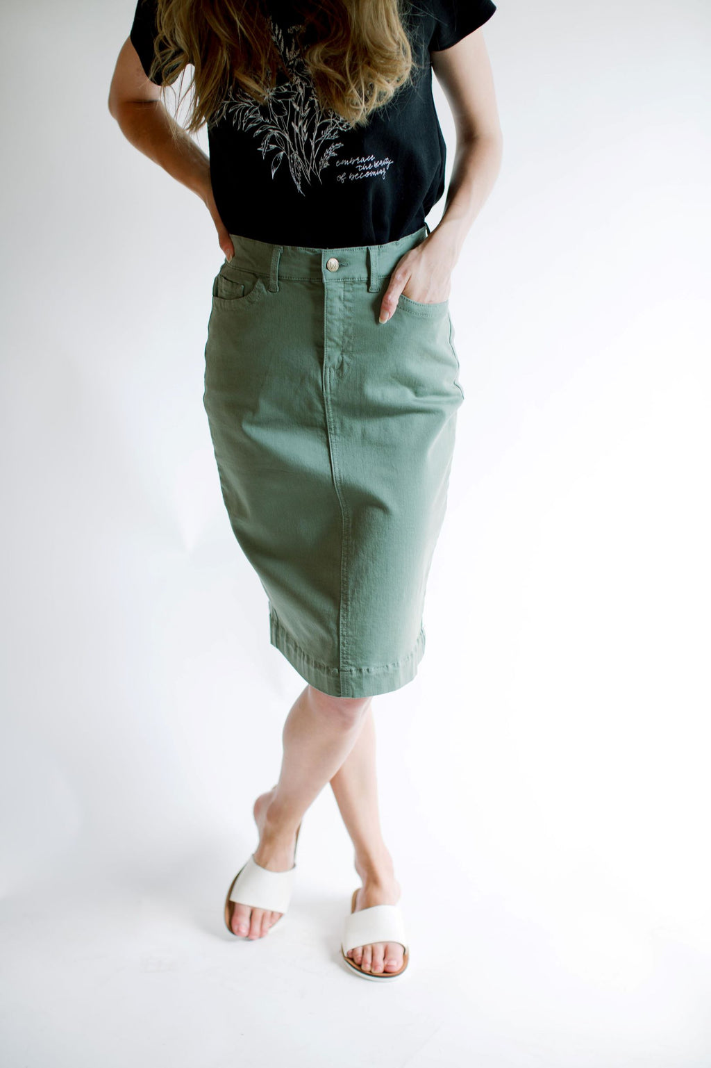 'Leah' Denim Skirt in Dusty Olive