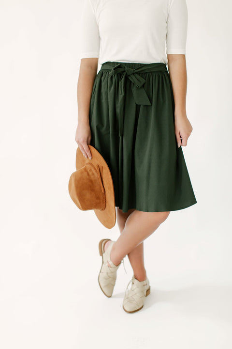 'Peyton' Tie Waist Skirt in Deep Green