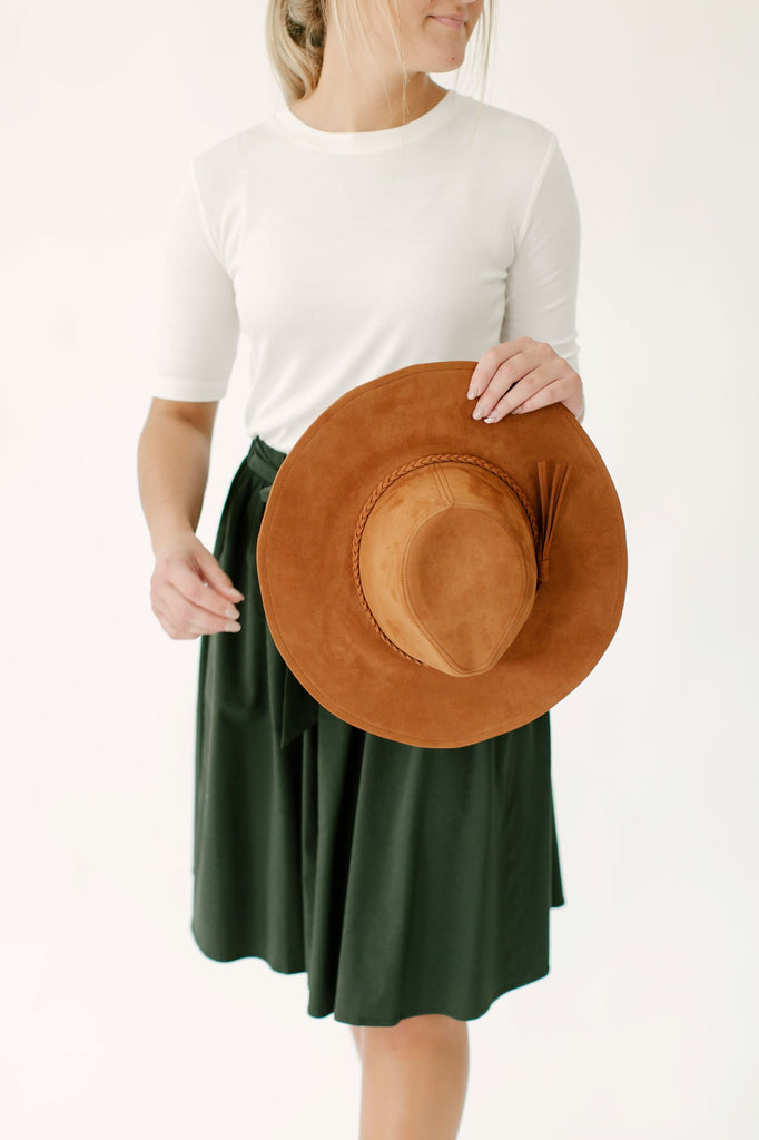 Suede Fedora Hat in Brown