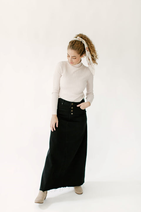'Haven' Long Denim Skirt in Black