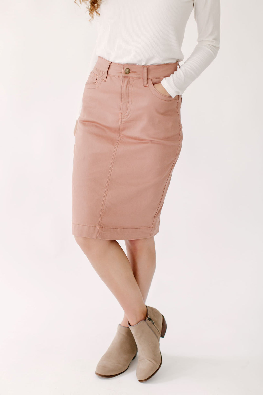 'Leah' Denim Skirt in Vintage Rose
