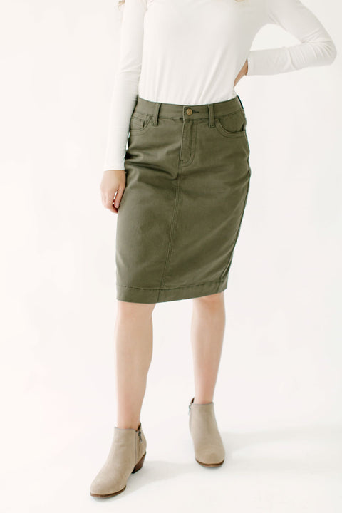 'Leah' Denim Skirt in True Olive