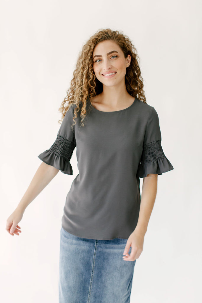 'Verona' Gathered Sleeve Top in Pewter