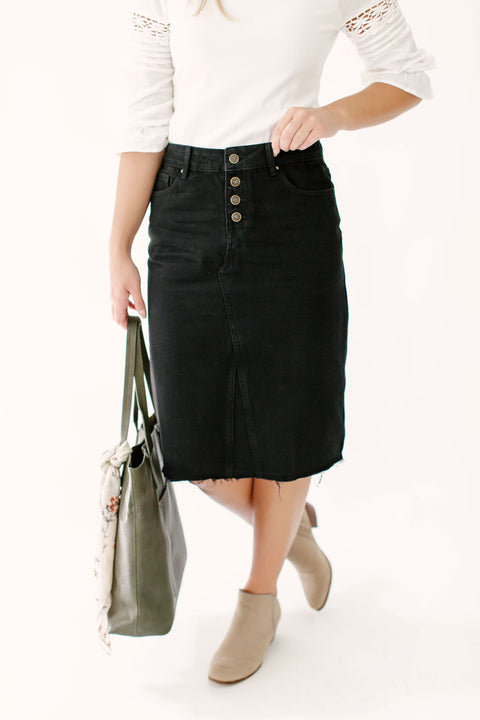 'Haven' Knee Length Denim Skirt in Black