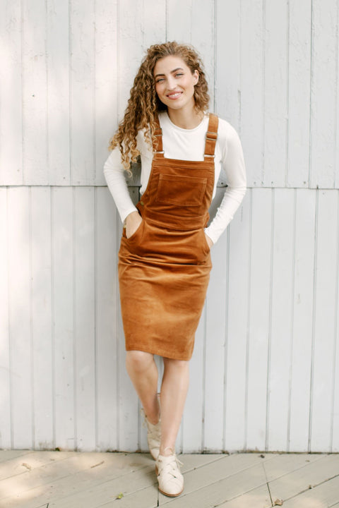 'Harriet' Corduroy Overall Dress in Camel