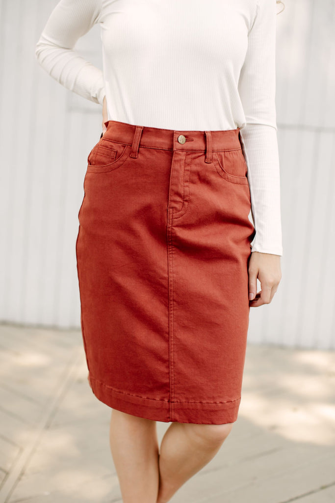 'Leah' Denim Skirt in Spice