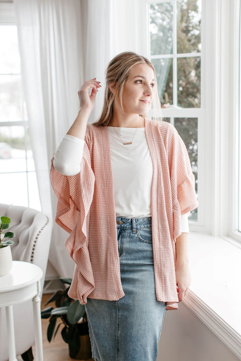 'Laurel' Ruffle Sleeve Cardigan in Blush