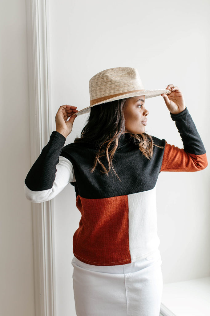 'Julian' Mock Neck Color Block Sweater