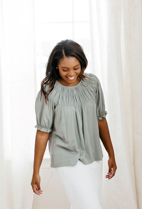 'Finley' Smocked Yoke Top in Dusty Sage