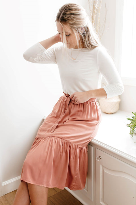 'Cora' Tiered Midi Skirt in Salmon