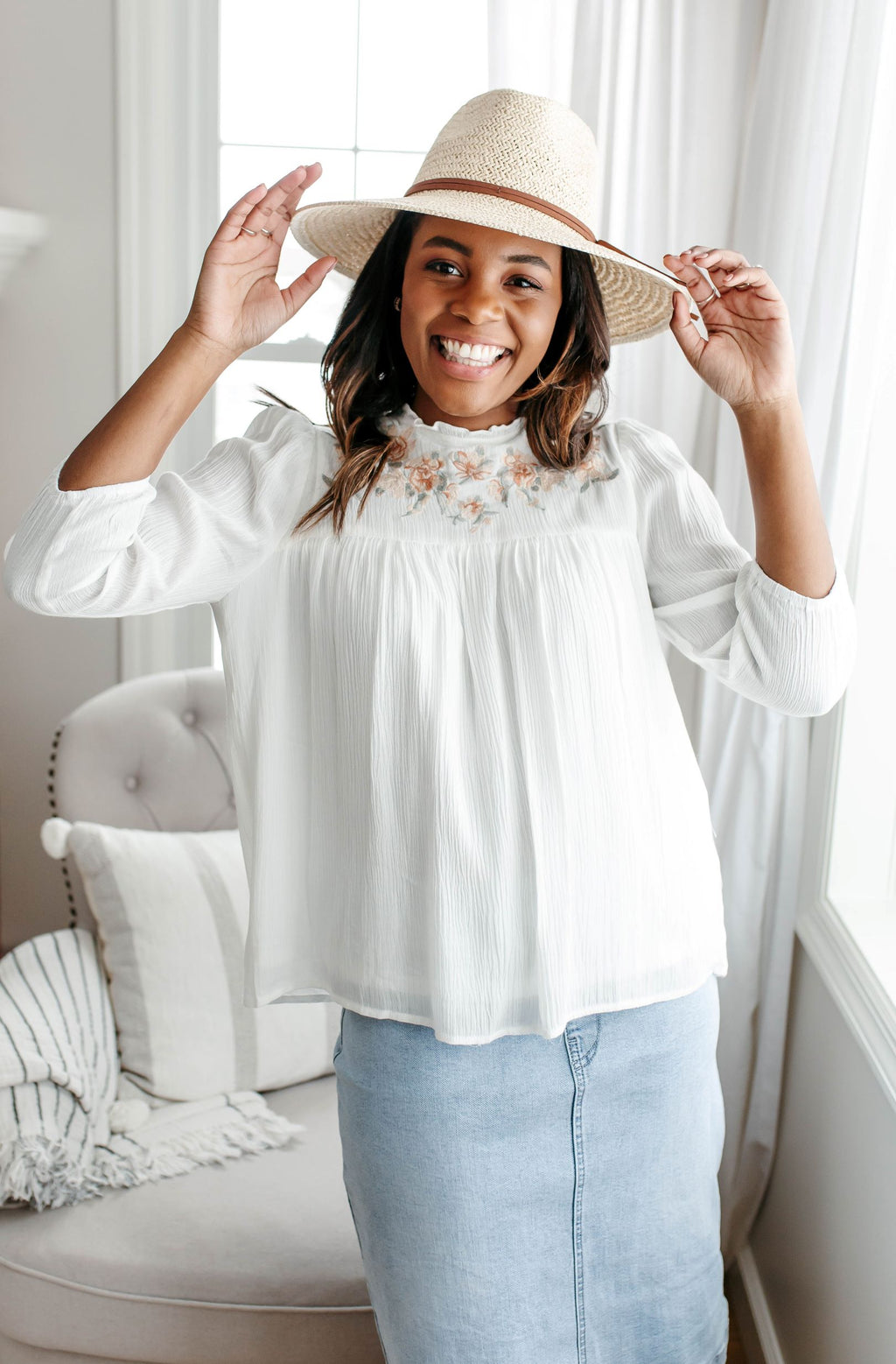 'Gabrielle' Embroidered Yoke Top in Ivory