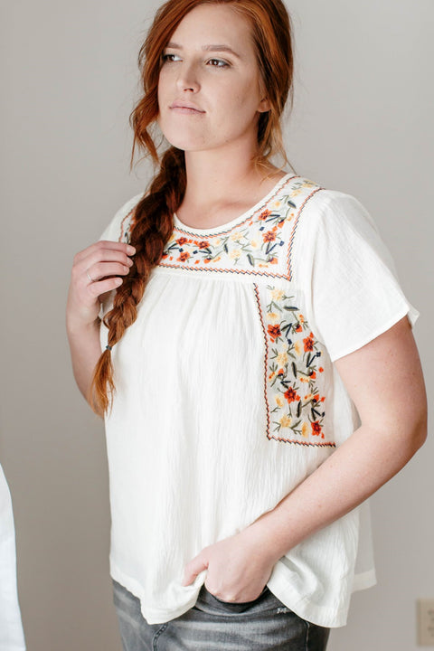 'Talia' Embroidered Top in Cream