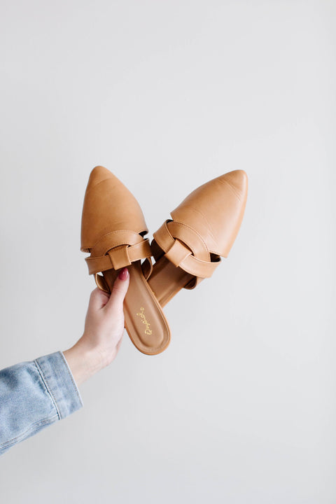 'Madrid' Woven Mules in Light Tan