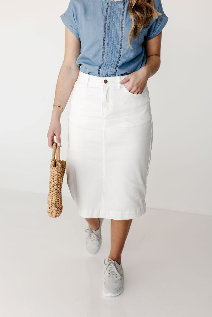 'Leah' Denim Skirt in Ivory