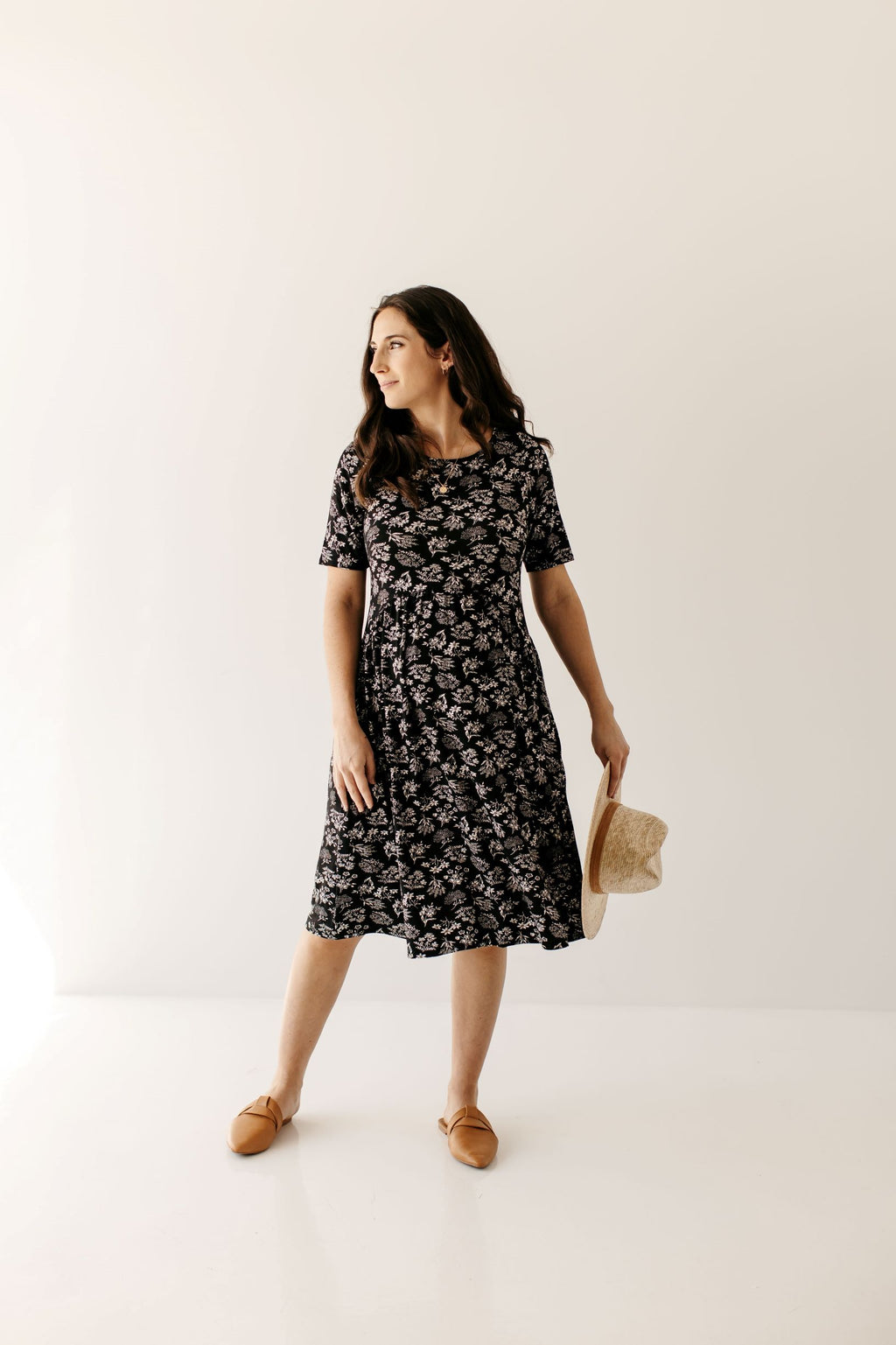 'Myrna' Maternity Dress in Black Floral