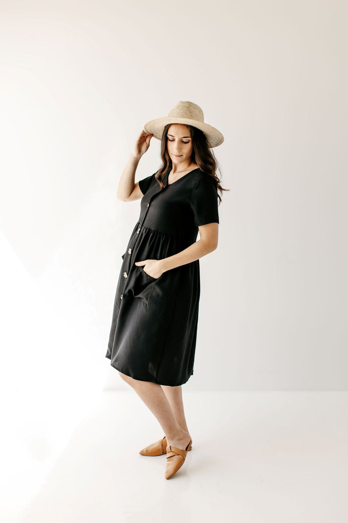 'Agatha' Button Front Nursing Friendly Dress in Black