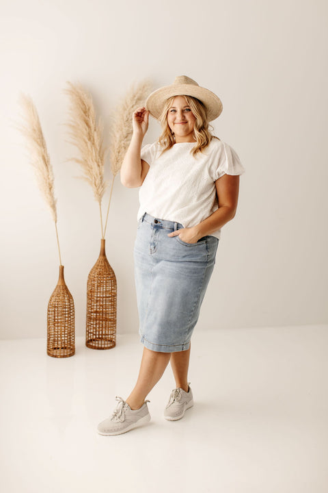 'Leah' Denim Skirt in Light Wash