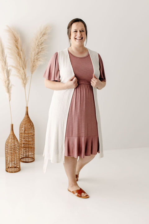 PLUS 'Emily' Sleeveless Cardigan in Dusty Ivory