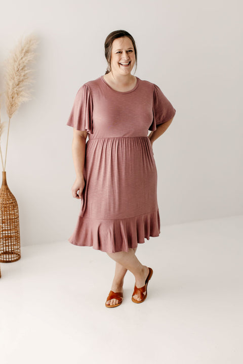 PLUS 'Sonya' Flutter Sleeve Knee Length Dress in Mauve