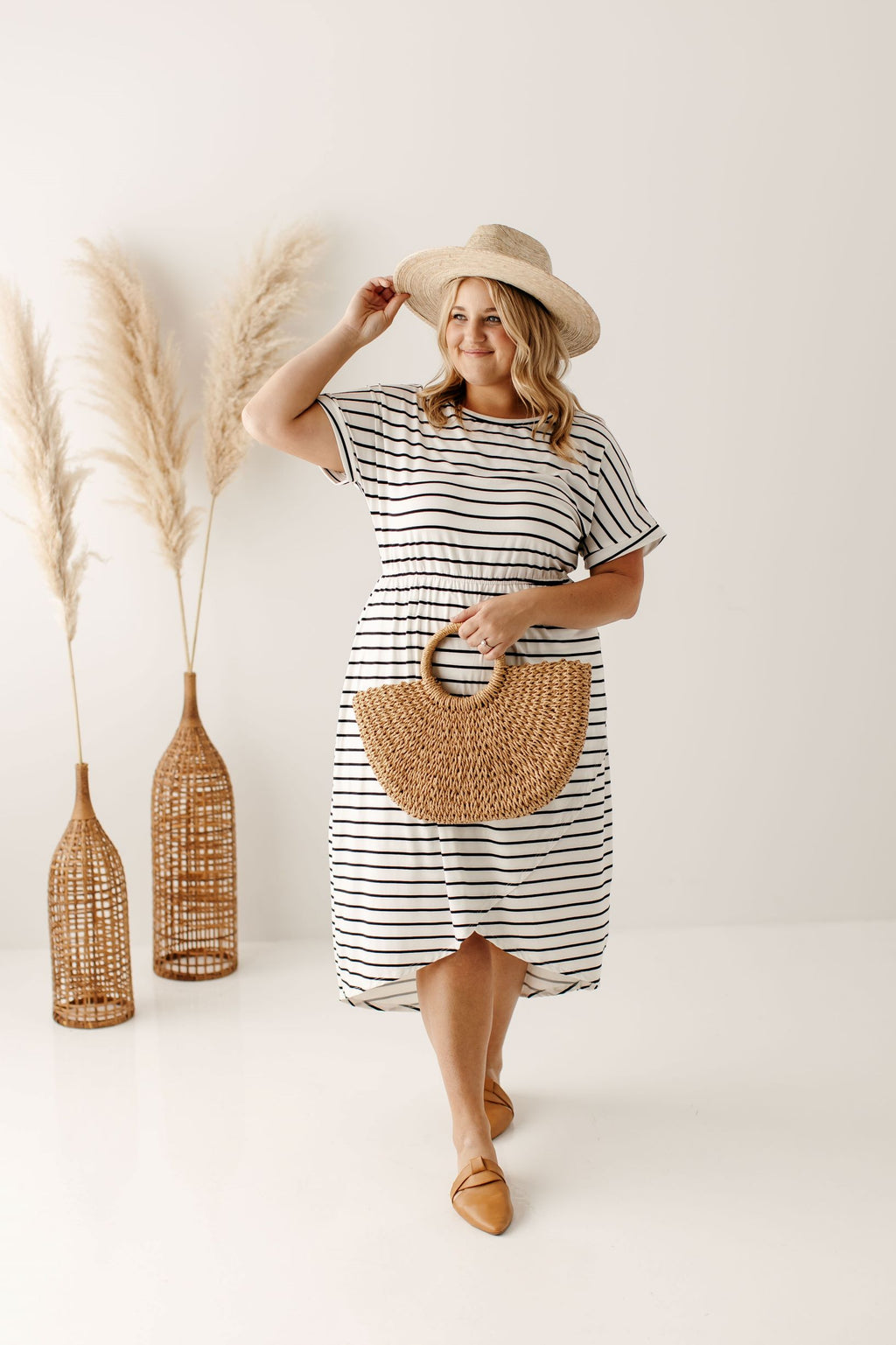 PLUS 'Kelly' Midi Dress in Ivory/Black Stripe