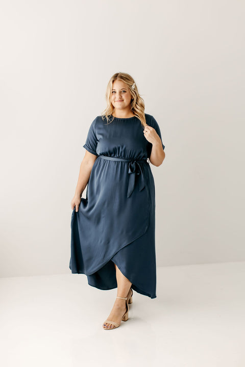 PLUS 'Anissa' Wrap Maxi Dress in Slate Blue