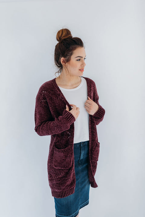 Chenille Cardigan in Raisin