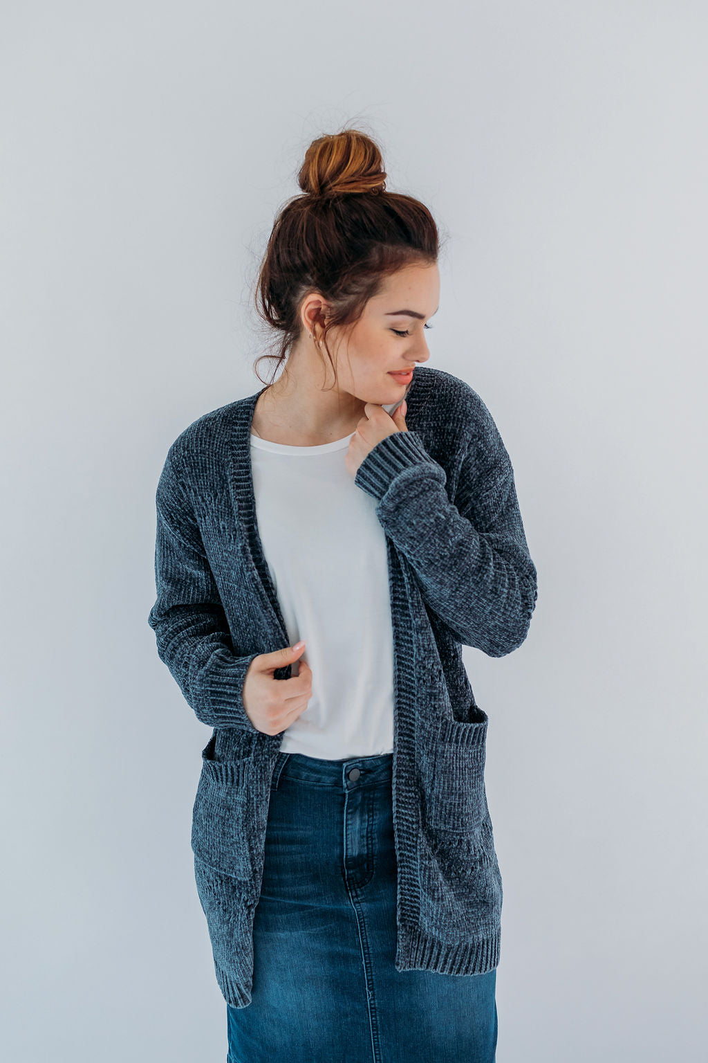 Chenille Cardigan in Charcoal