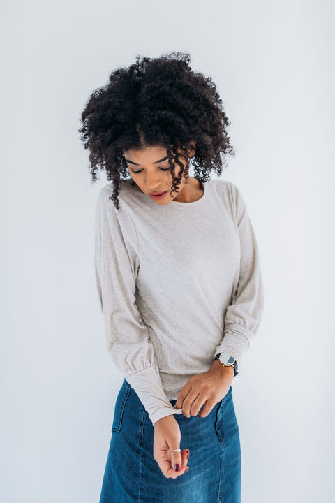Cuffed Sleeve Tee in Oatmeal