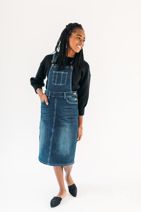 'Chloe' Dark Denim Overall Dress