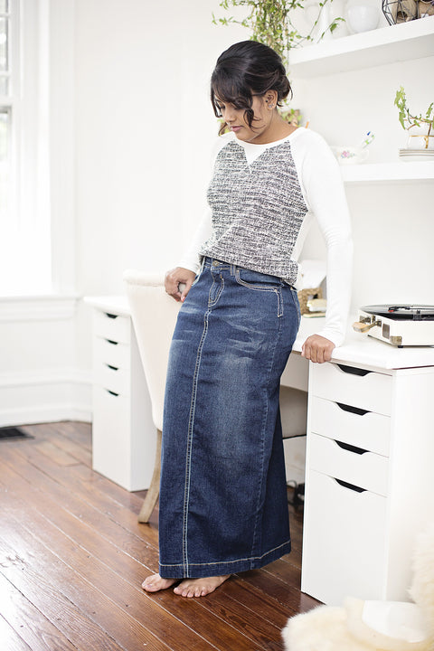 'Jillian' Long Distressed Denim Skirt