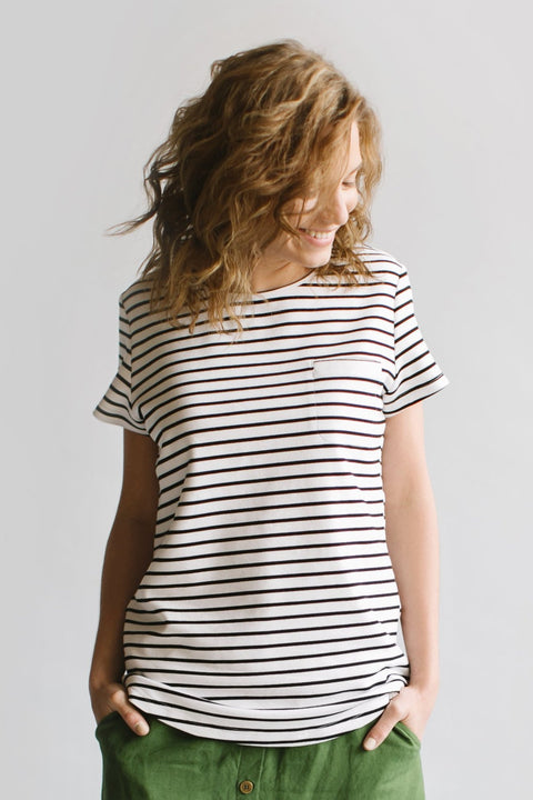 'Brooklyn' Tee in White with Black Stripes