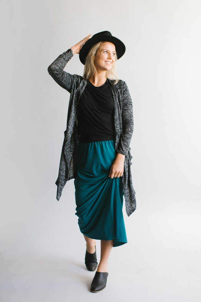 'Claire' Skirt in Winter Teal