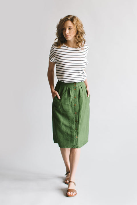 'Arie' Skirt in Moss Green