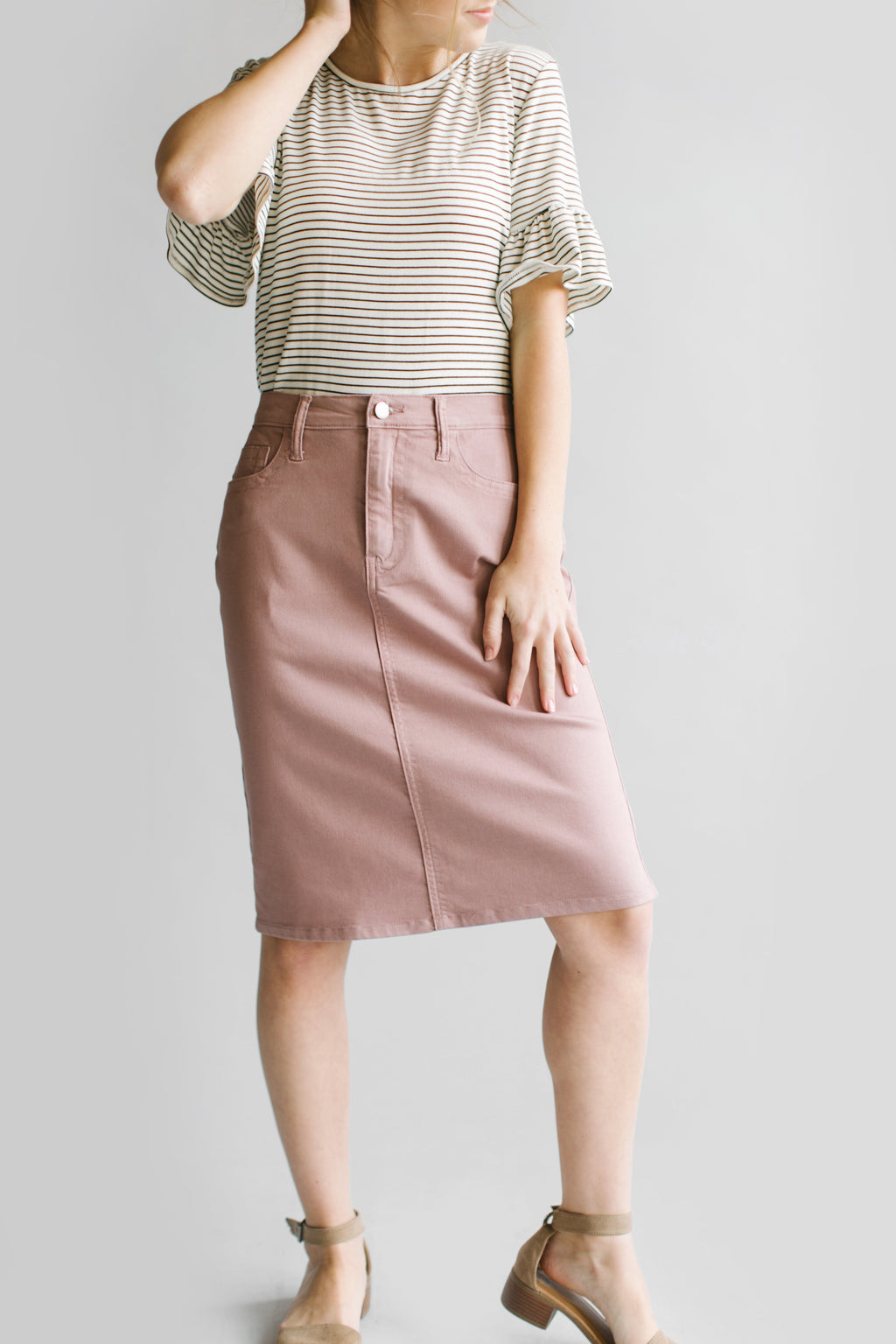 'Leah' Denim Skirt in Rose Blush