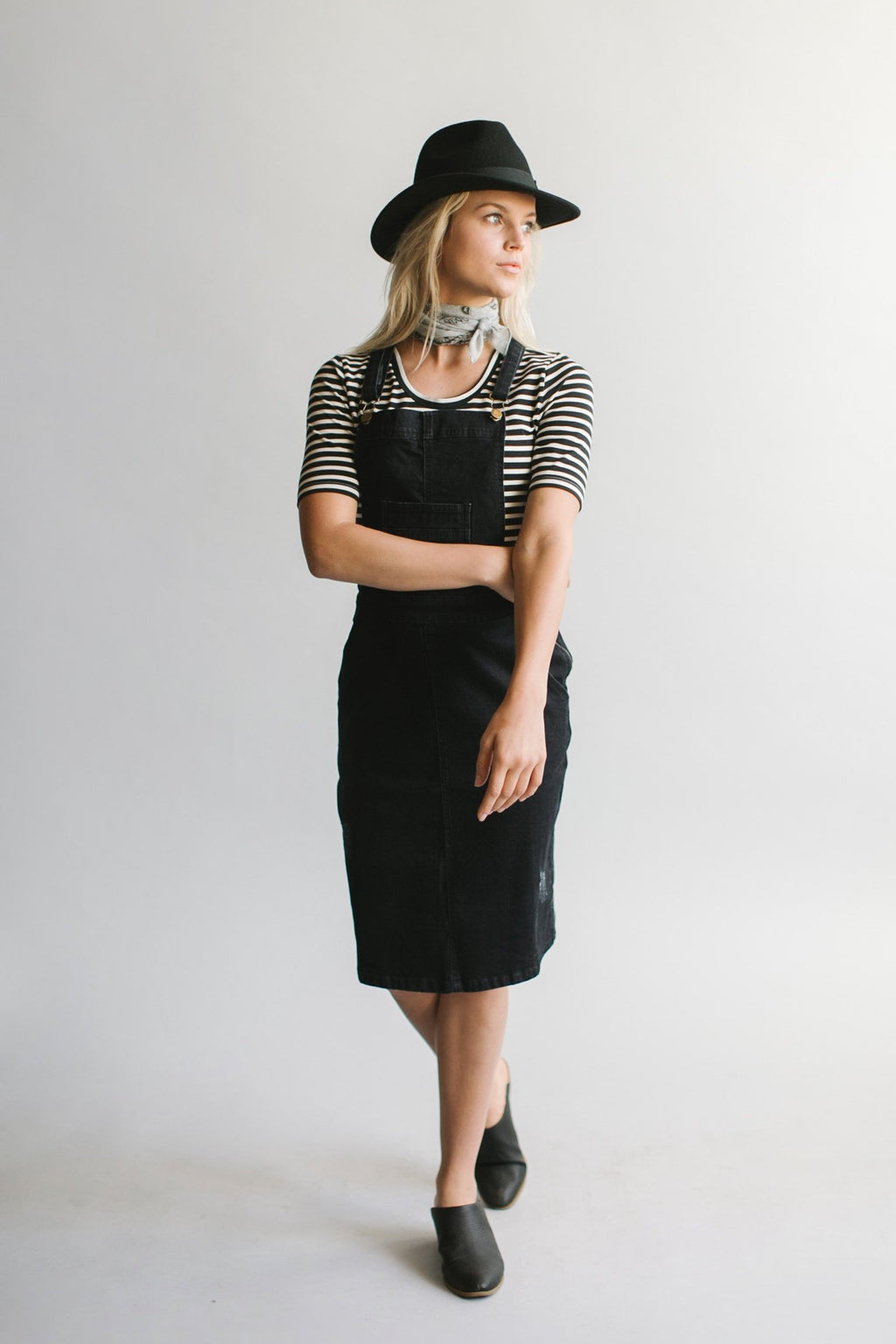 'Hailee' Black Denim Skirt Overalls