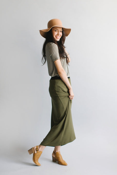 'Claire' Skirt in Olive
