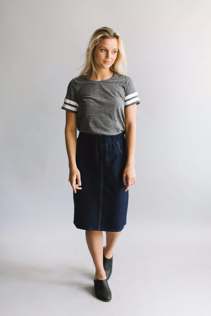 'Rachel' Knee Length Denim Skirt