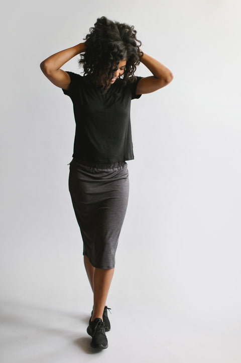 'Alexa' Athletic Skort in Warm Charcoal