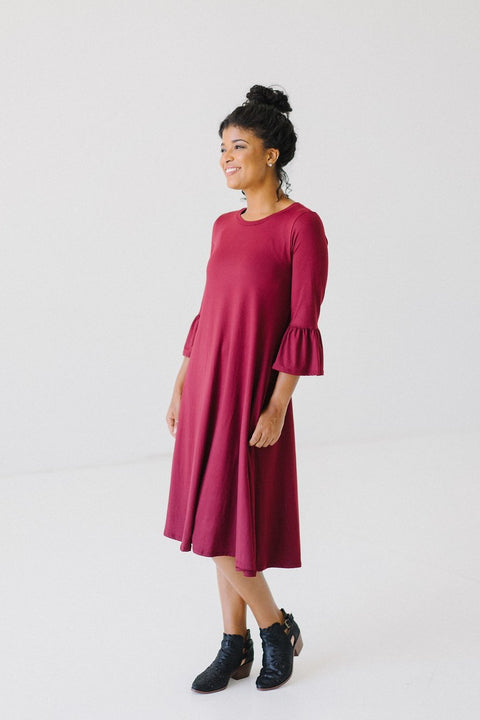 'Aubree' Dress in Maroon