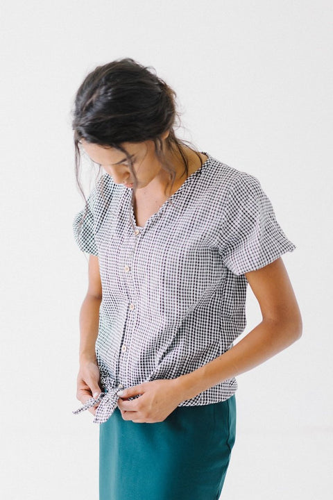 Short Sleeve Checkered Button Down Top