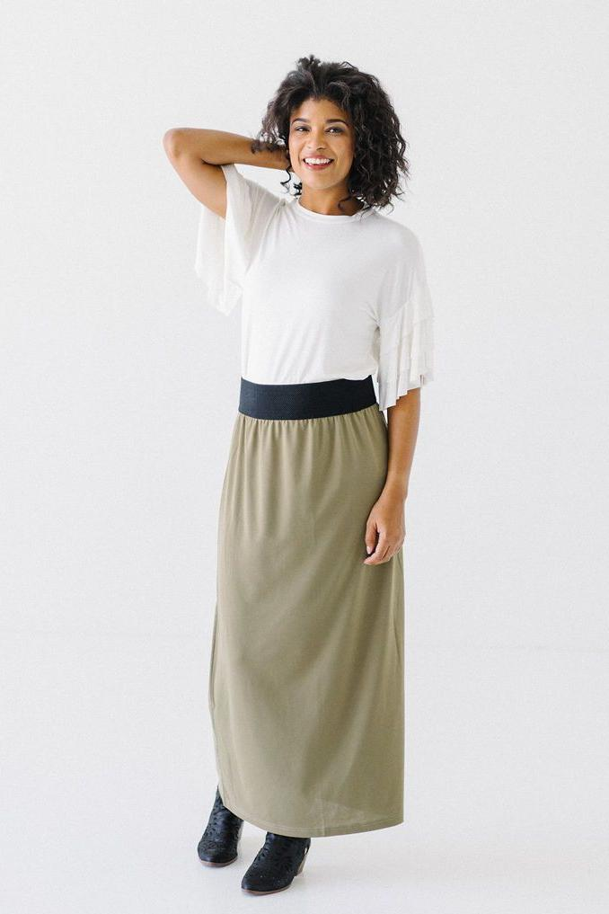 'Claire' Skirt in Light Olive