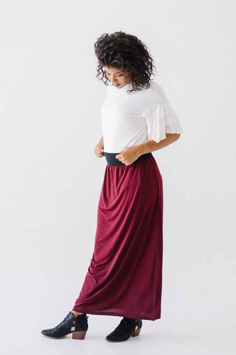 'Claire' Skirt in Wine