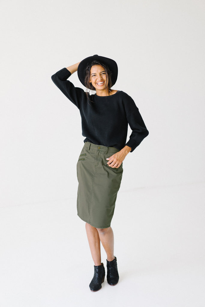 'Willow' Olive Skirt