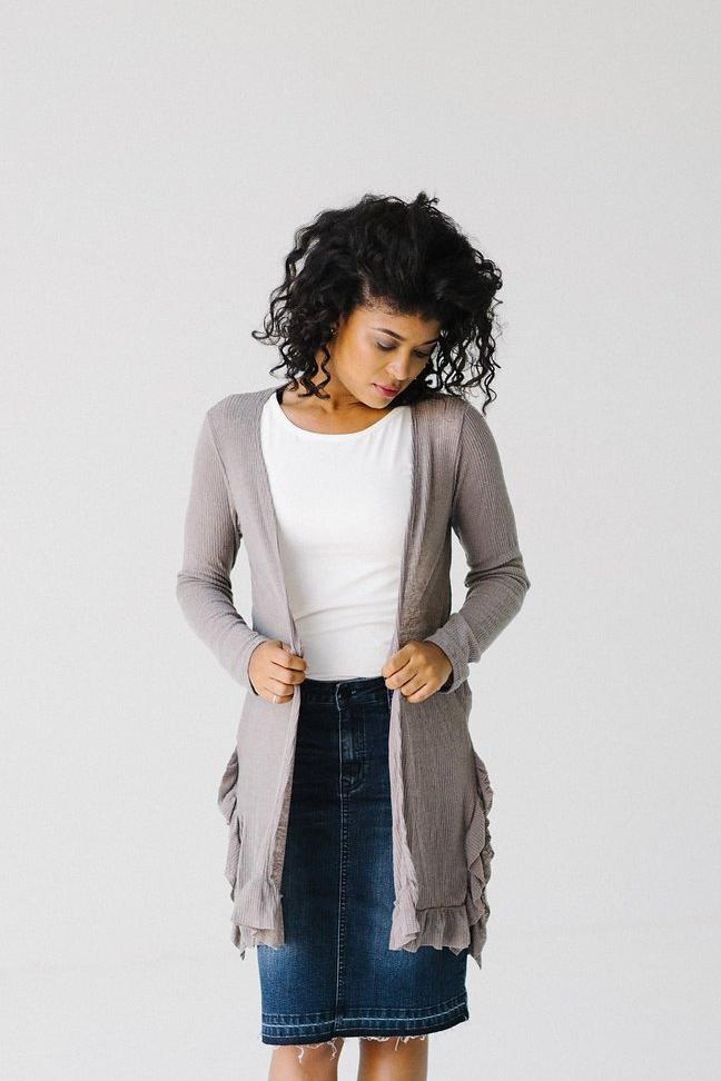 Ribbed Cardigan with Ruffle