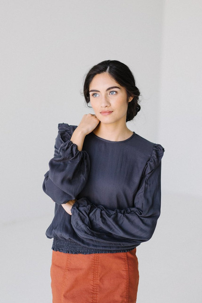 Ruffled Shoulder Top in Graphite