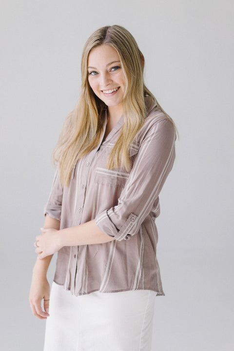 Mocha/White Striped Button Down Top