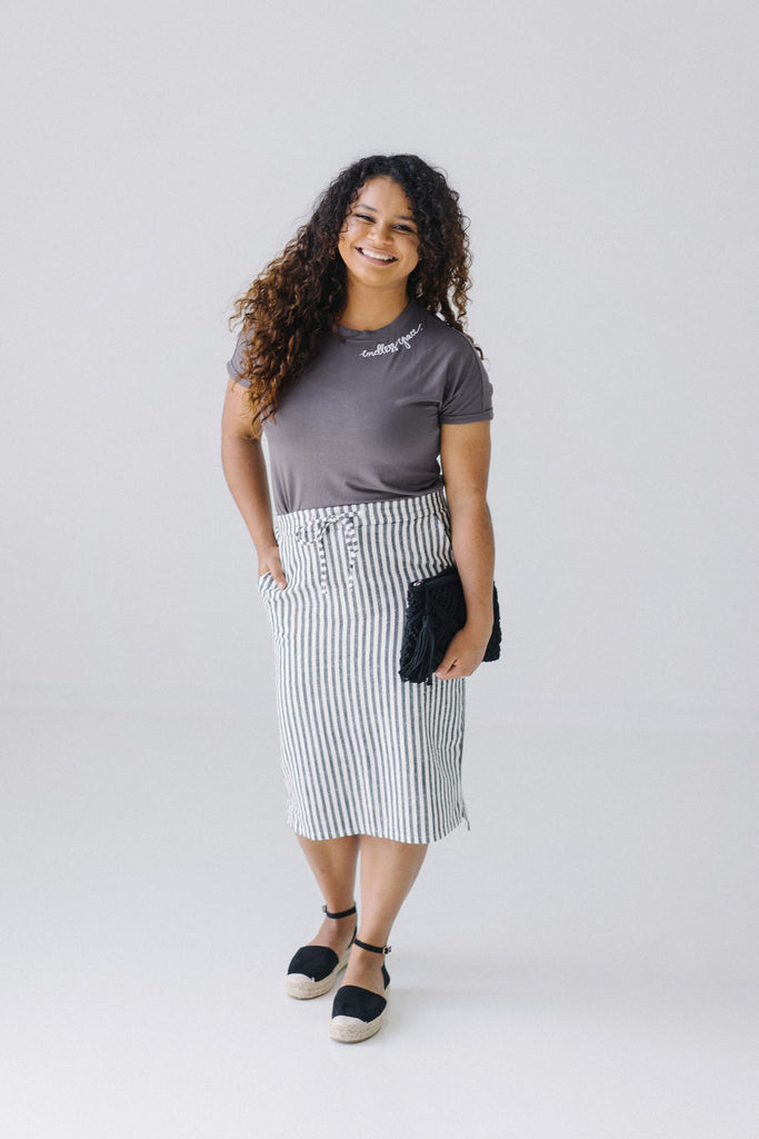 'Laurie' Striped Midi Skirt