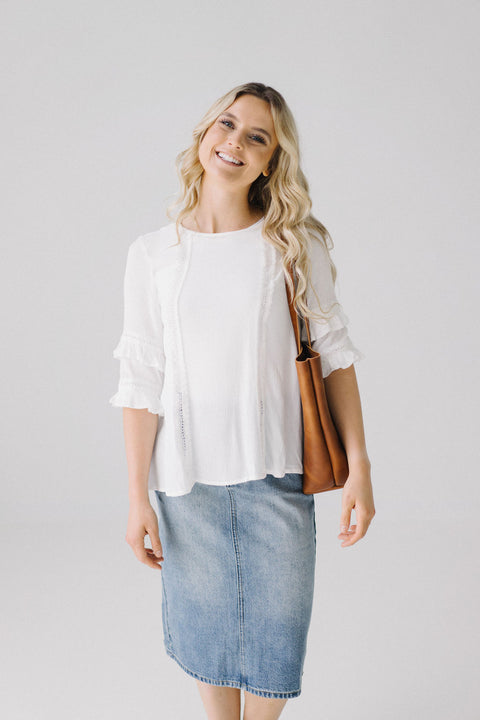 Lace Ruffle Sleeve Top in Off White